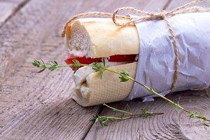 Sandwich with tomato and mozarella
