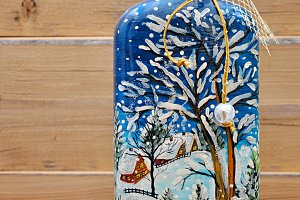 russian hand-painted bottle