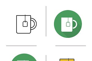 Tea mug. 4 icons. Vector