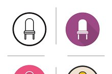 Chair. 4 icons. Vector
