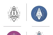 Spaceship. 4 icons. Vector