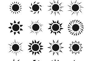 Sun icons vector set