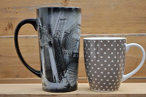 two artistic cups