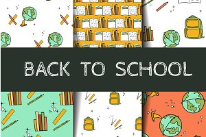 Back to school seamless patterns set