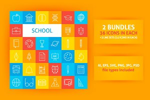 School Line Art Icons
