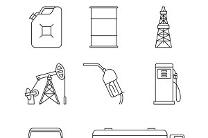 Linear oil icons