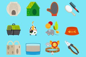 Pet cat toys and food icons