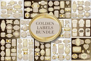 Golden label bundle, vector