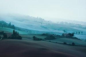 Tuscany foggy hills