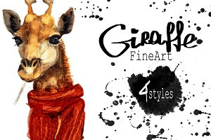Set giraffe portraits .4 styles