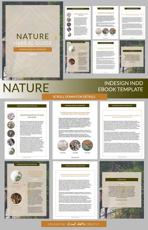 nature indesign ebook template presentation templates creative market. Black Bedroom Furniture Sets. Home Design Ideas