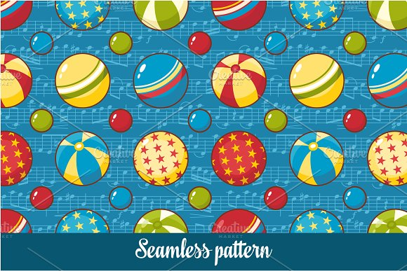 Ball. Note. Baby toy. Seamless - Patterns