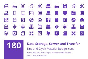 180 Data Storage Material Icons