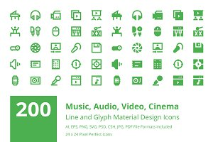 200 Multimedia Material Design Icons