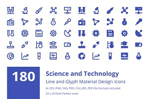 180 Science and Technology Icons