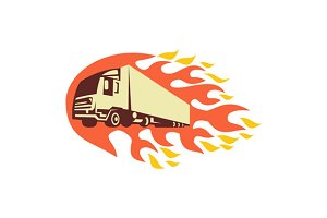 Container Truck and Trailer Flames