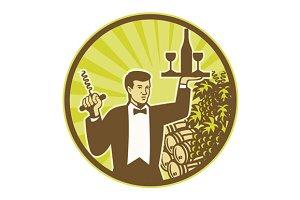 Waiter Serving Wine Grapes Barrel