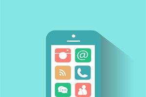 Smartphone interface vector blue