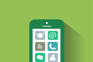 Smartphone interface vector green