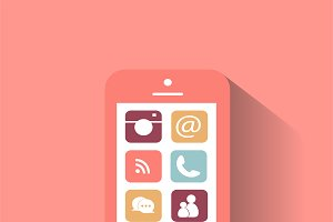 Smartphone interface pink color