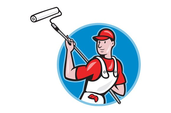 House Painter With Paint Roller - Illustrations