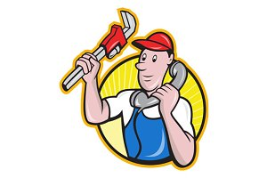 Plumber Worker With Adjustable W