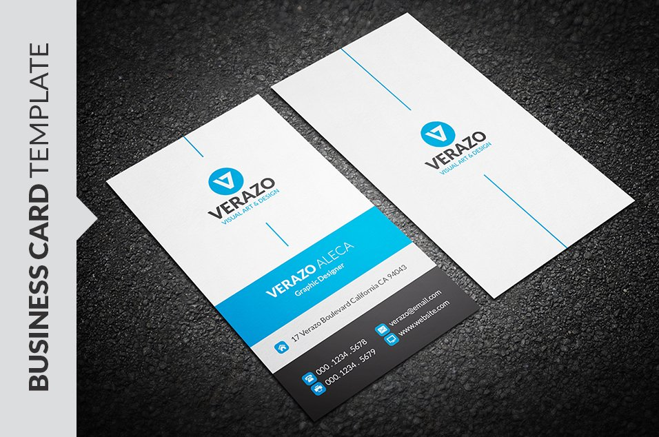 Modern Blue Business Card Template ~ Business Card Templates ...