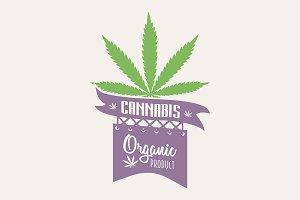 Cannabis marijuana logo or badge