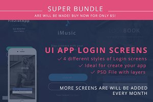4 UI Login Screens for Mobile PSD