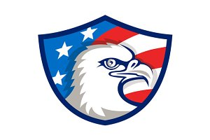 Bald Eagle Head USA Flag Shield