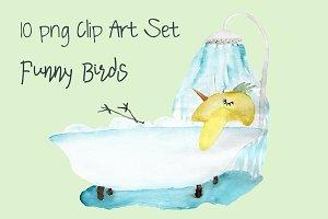 Funny Birds - 10 png Clip Art Set