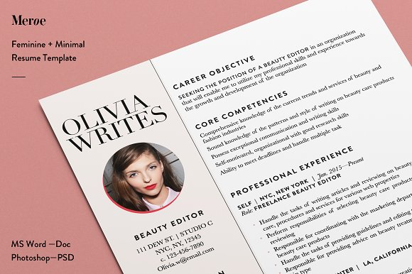 Resume Template Customer Service Excel Feminine Resume  Cv Template  Resume Templates  Creative Market Resume Accent with Resume Distribution Excel  Legal Resume Sample Excel