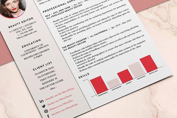 feminine resume cv template resume templates creative market