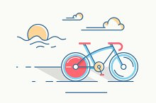 Sport bicycle at sunrise