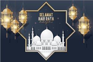 hari raya/ mosque/lantern template