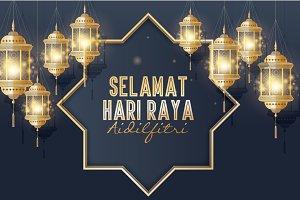 hari raya/ mosque/lantern vector