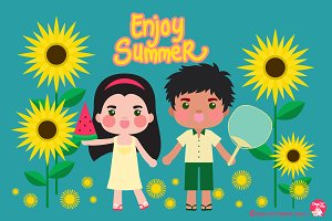 Digital Clipart Enjoy Summer