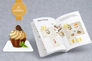 Sweet dessert vector set