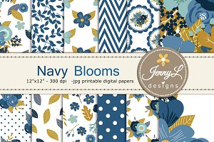 Navy Blue Floral Digital Papers