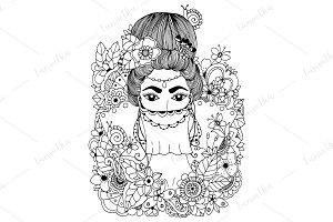 Doodle Oriental woman, princess