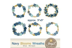 Navy Blue Floral Wreath