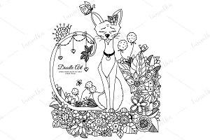 Doodle cat in a flower frame