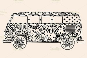 bus Black, beige color