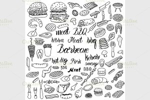 doodle BBQ party icons set.