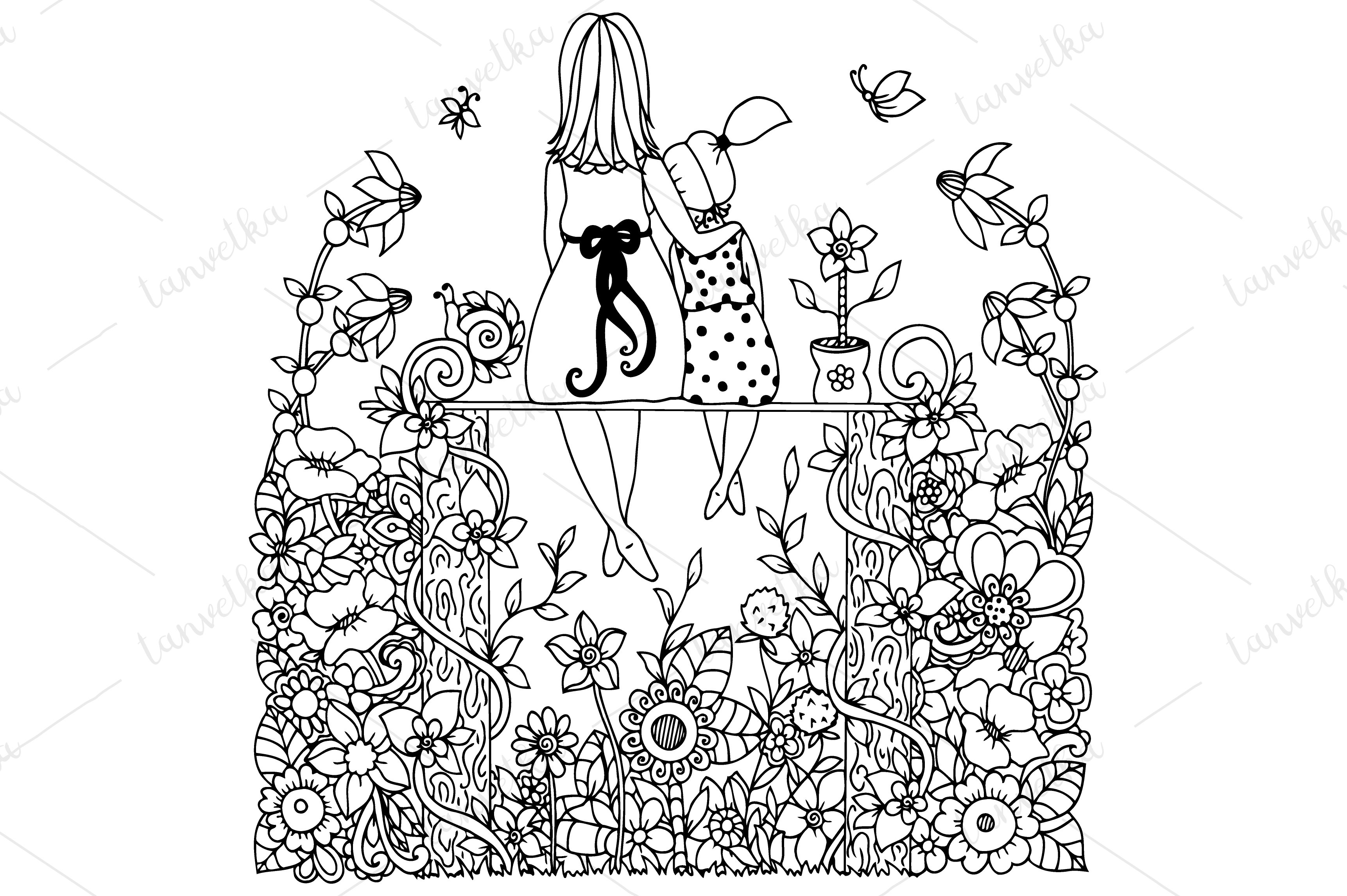Doodle Flowers Mother And Daughter Illustrations