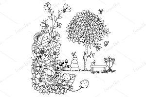 Doodle park, nature, flowers.