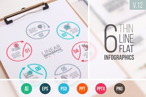 Linear elements for infographic v.12 - Presentations