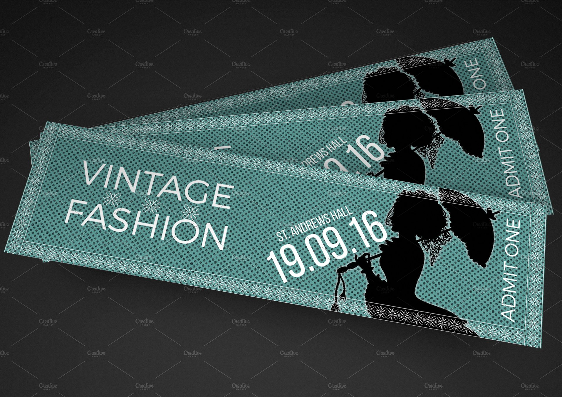 Vintage fashion show ticket invitation templates for Fashion show ticket template