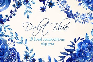 Delft Blue clipart 18 compositions