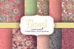 Floral romantic papers pack